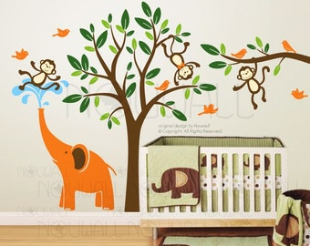 Kids Wall Decals Wall Stickers-  Tree Wall Decal Monkeys & Elephant baby decal- 105
