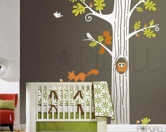 Animal in Woodland Tree Wall Decal ,Squirrel ,Owl Wall decal,Stickers, Wall Art ,Wall Graphic- 083