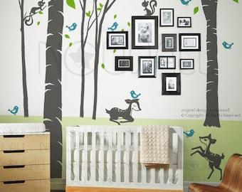 Art Wall Decals Wall Sticker Tree Decal - Fantasy Woodland - fawn birds squirrels fairy land Nursery Decal - 106