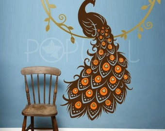 Peacock Wall Decal , Animal Wall Decal , bird wall decal, Vinyl Art Wall Sticker, home decor 053