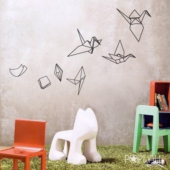paper evolving into origami bird pop wall sticker art by nouwall. Black Bedroom Furniture Sets. Home Design Ideas