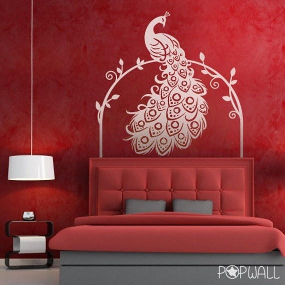 items similar to peacock wall decal bird animal wall decal wall sticker vinyl home decor. Black Bedroom Furniture Sets. Home Design Ideas