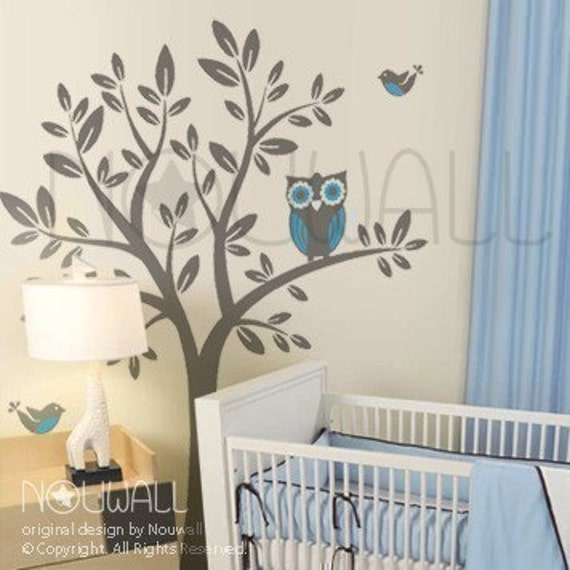 Owl on Tree wall decal Vinyl Sticker Nursery Wall Decal - 090
