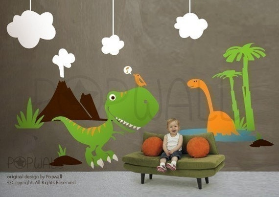 Dino Land - 078 Kid Nursery Children Playroom - custom order for rosaliejoy
