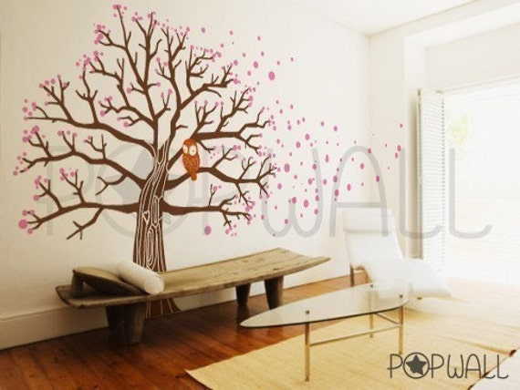 Tree Wall Decal Vinyl Wall Sticker Art - Owl on Blossom Tree Decal - 045