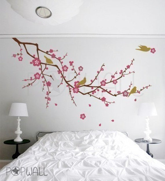 Tree Nature Birds Flower Cherry Blossom Branch Wall Decal