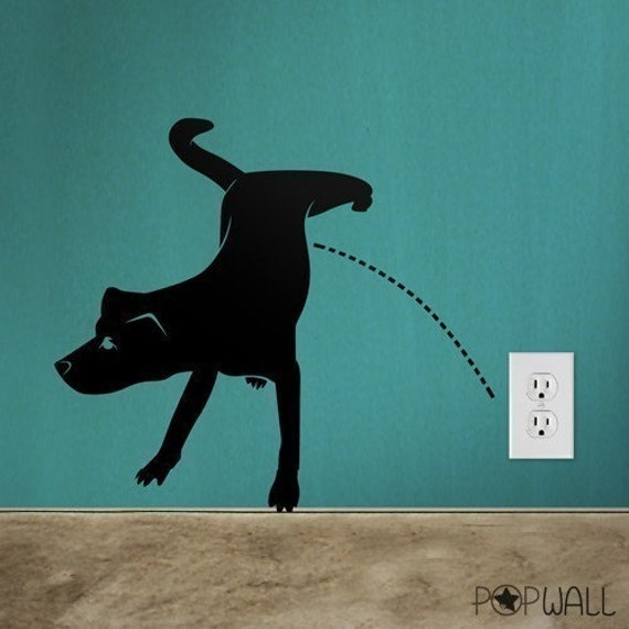Naughty Dog Pissing Dog Wall Decal Animal Wall Decal Wall   Custom Vinyl Wall  Decals Dogs