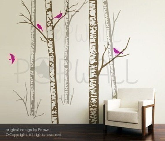 Birch Trees wall decal ,Birds, Living Room Wall decals wall stickers Vinyl,  home