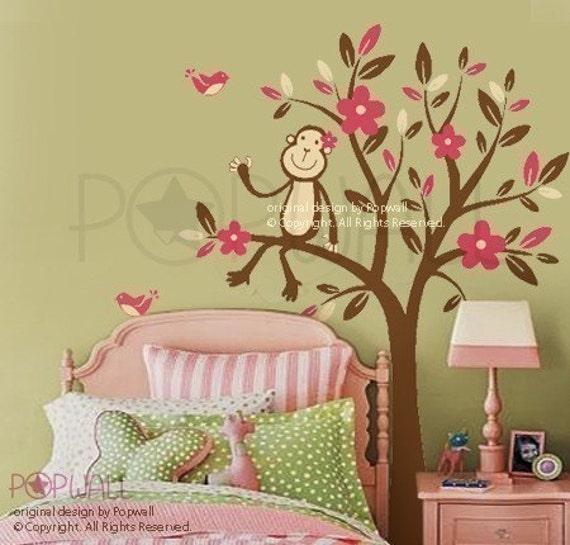 Monkey Sitting on a Flower Tree Wall decal , Nursery Wall Decals Wall Sticker,wall decor , art  085