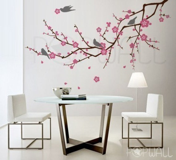 Tree birds flower cherry blossom tree branch wall decal for Cherry blossom tree wall mural