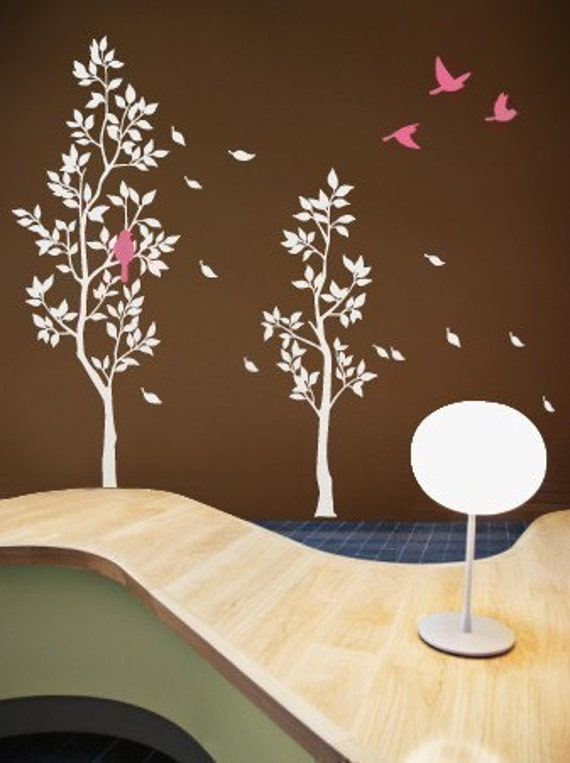 Art Wall Decals Wall Sticker Tree Decal - Trees with Falling Leaves and Birds- 034