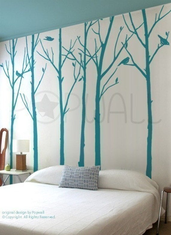 Leafy Winter Tree Wall Decal Living Room Birds Wall Decal