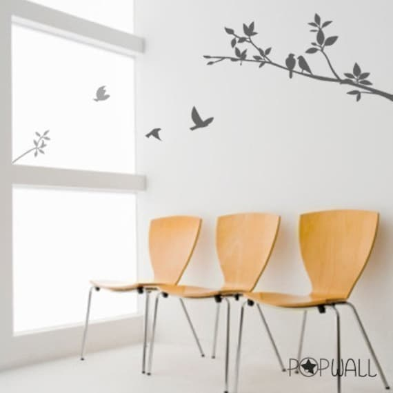 Vinyl Wall Sticker Decal - Birds on Branch -  003