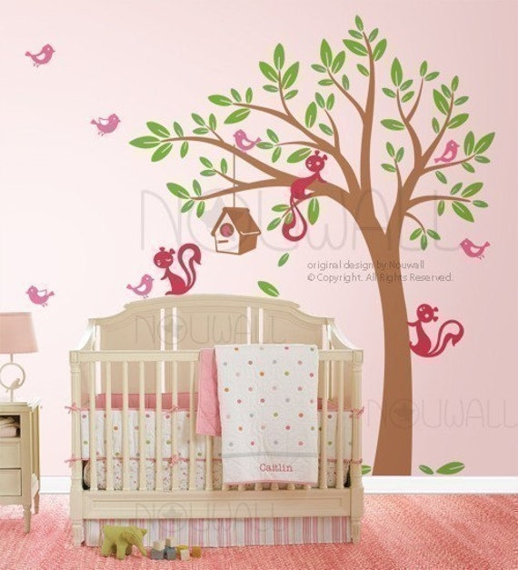 Swaying Tree birdhouse Wall decal, Squirrel Wall Decals,  Wall Sticker, wall decor, home decor- 095