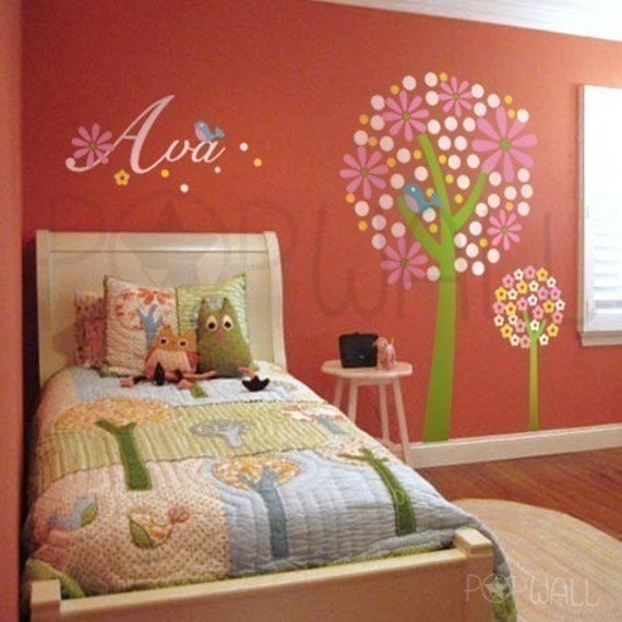 Children Wall Decal Wall Sticker Nursery Decal Art -Colorful Tree Decal with Custom Name Kids Decal
