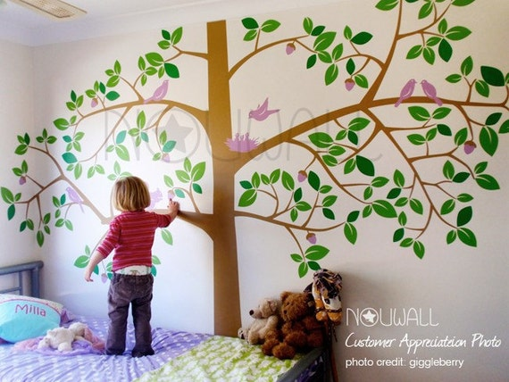 Arbre g ant wall decal wall sticker enfants wall decal home for Decoration murale arbre de vie