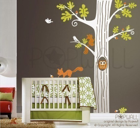 Animal In Woodland Tree Wall Decal Squirrel Owl Wall