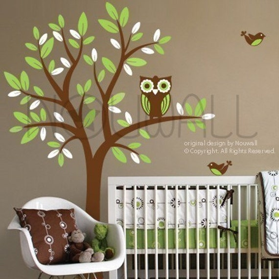tree wall decals wall stickers tree decal owl on tree 089