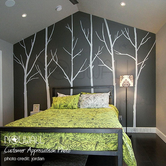 Winter tree wall decal bedroom wall decal wall sticker vinyl for Winter bedroom