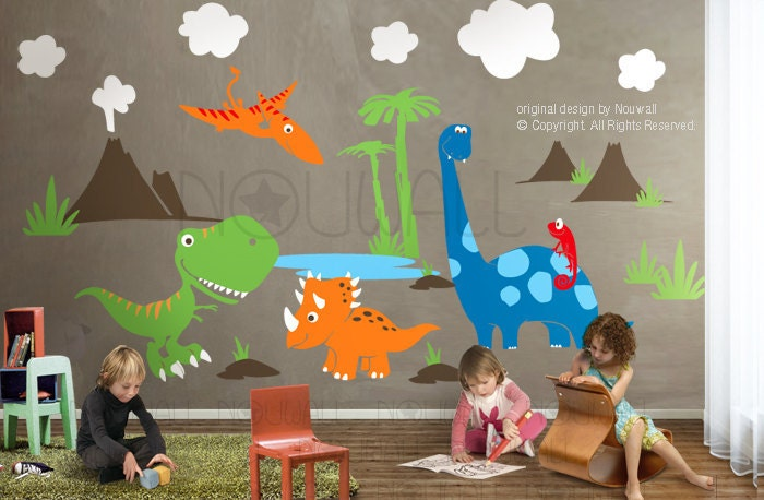 7 Inspiring Kid Room Color Options For Your Little Ones: Dinosaurs Wall Decal Triceratops ApatosaurusT-rex
