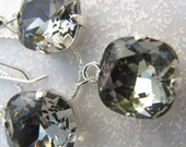 Swarovski Black Diamond Square Rhinestones Earrings and Necklace Set In Silver Settings