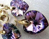 Swarovski Crystal Vitrail Light Heart (large)Pendant Necklace and Earrings Set