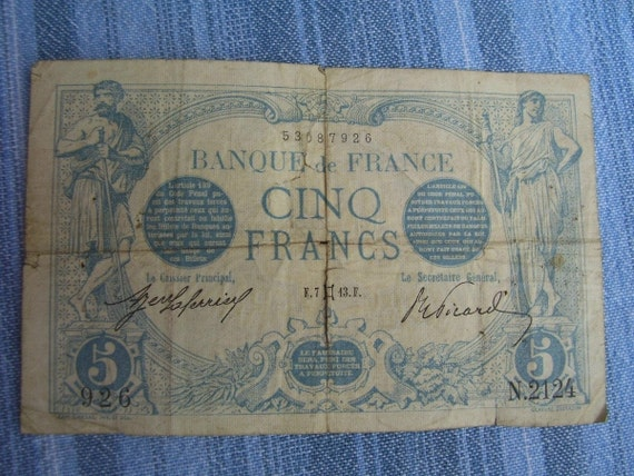 Old French Banknote Five Francs