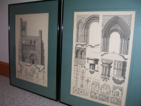 Antique Architectural Prints Set of Two