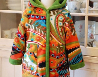 Bright Paisley Long Coat with Hood