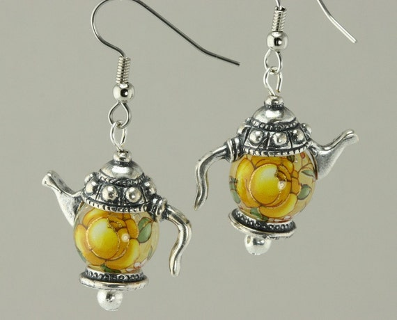 Yellow Rose Japanese Tensha Bead Teapot Earrings