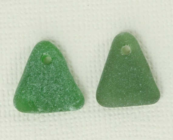 Genuine Green Sea Glass from Puerto Rico Earring Pair
