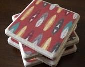 Tile Coasters - Tribal Surfer