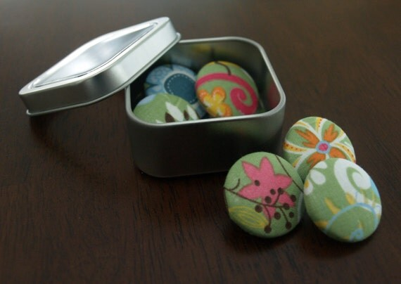 Fabric Button Thumbtacks - Set of 6 large tacks - Abstract Garden