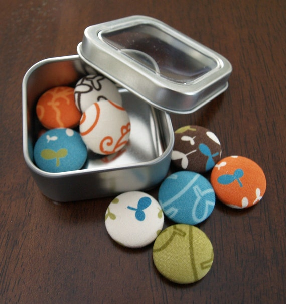 Fabric Button Magnets - Bold Nature