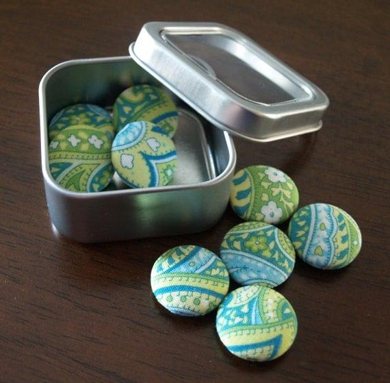 Fabric Button Magnets - Aqua & Green Peaceful Paisley