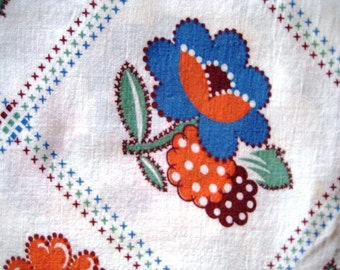 Vintage Feedsack, Blue, Orange and Maroon Flowers and Fruits