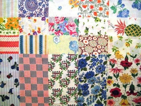 Vintage Feedsack Fabric, 20 10-inch Squares