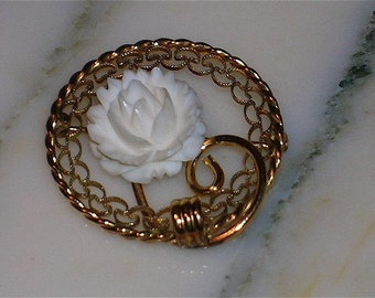 "Vintage Romantic Victorian Style Brooch,Faux Ivory Or Bone Rose, Gold Filled : ""One Perfect Rose"""