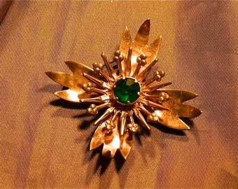 "Vintage Brooch/Pendant Copper Rhinestone Starburst:""Copper Star Shine"""