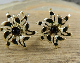 """Vintage Red Stone Gold Flower Screwback Earrings, """"Garnets and Gold"""""""