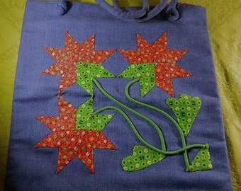 "Vintage Purse, SALE, 1970s Appliqued Denim/Calico Fabric Tote Bag/Purse: ""Flowering Power"""