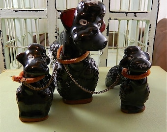 Vintage Redware Ceramic Mother Poodle and Pup Figurines, Chained to Mom: Bound By Love