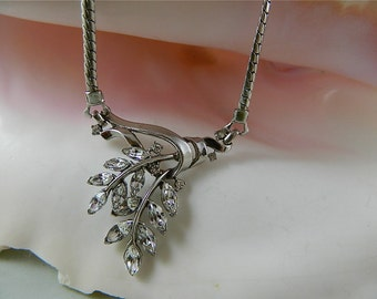 Vintage Necklace, White Rhinestone Leaf Choker with Rhinestone Extender: Graceful Leaves