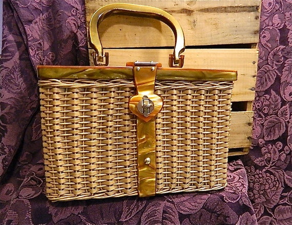 Reserved for DollieCs Vintage Lucite and Wicker Purse, Princess Charming by Atlas of Hollywood, CA: Princess Charming