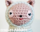 crochet pattern - hoodie bear amigurumi plushie stuffed animal toy doll - (instant download)