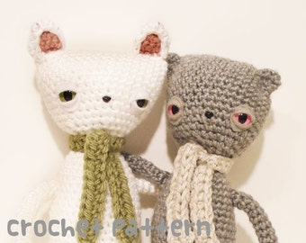 crochet pattern - melancholy cat and bear amigurumi sad emo plushie stuffed animal toys - (instant download)