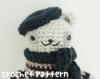 crochet pattern - french bear amigurumi - poet artist cat paris france stuffed animal kawaii plushie - (instant download)