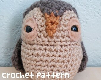 crochet pattern - owl amigurumi miniature plushie woodland stuffed animal - (instant download)