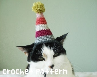 crochet pattern - birthday party pet hat - halloween costume cat amigurumi kawaii small dog chihuahua disguise - (instant download)