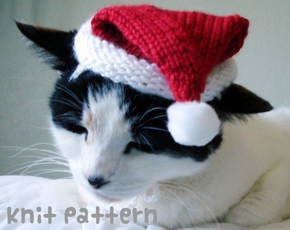 Knitting Pattern Hat For Cat : Items similar to knitting pattern - santa claus pet hat ...
